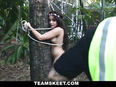 Worker found hot nude chick in the woods and fucked her