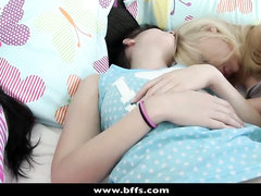 Cute girlfriends were sleeping on the bed and got fucked