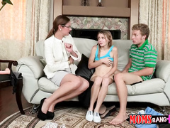 Milf caught her teen daughter sucking boyfriend's dick