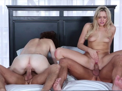 Horny foursome reaches the strong orgasm