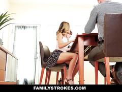 Slutty young blonde flashes her pussy under short skirt to stepfather