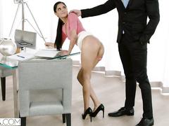 Impressive sexy brunette enjoys hardcore fuck with her boss