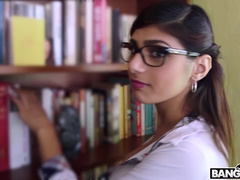 Charming sexy Arab girl Mia Khalifa is riding big cock in reverse cowgirl pose