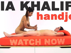 Busty hot Muslim girl pleases white dude with smooth and hot handjob