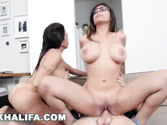 Hot Muslim chick Mia Khalifa and her stepmom are fucking one white cock