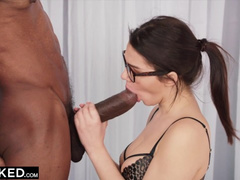 Steaming sexy brunette with glasses Valentina Nappi is pleasuring rough interracial fuck