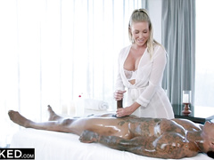 Busty masseuse Samantha Saint got pounded in her very deep pussy by BBC