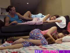 Dirty young dude covets to sleeping stepsister and her girlfriend and fucks them