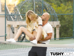 Impressive hot blonde Aubrey Star gets fucked hard by her tennis trainer
