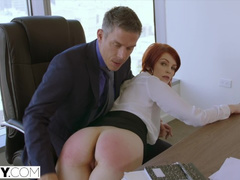 Small boobed redhead girl Bree Daniels sucks big dick and enjoys anal fuck