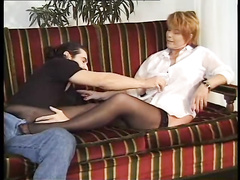 Horny mature blonde bitches are sharing one big young dick