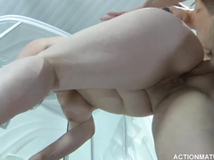 Fat Russian milf babe got passionately fucked by young guy