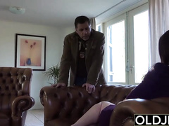 Busty tight brunette chick gets fucked by mature dude and takes cumshots