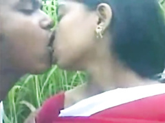 Indian young chick got tiny brown nipples sucked by boyfriend outdoors