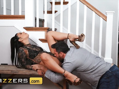 Young Latina with steaming hot tattoos Gina Valentina is pleasuring rough anal fuck